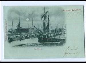 U4888/ Gruß aus Elmshorn Hafen Mondschein AK 1898