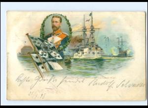 U4892/ Flaggschiff Deutschland verläßt Kiel Willy Stöwer Litho AK Marine 1898