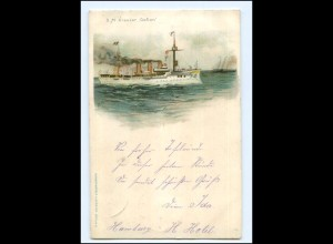 U4891/ S.M. Kreuzer Gefion Marine Litho AK 1898