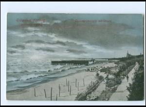 U5175/ Pommern Kolberg Dünenpromenade mit Strand 1910 AK