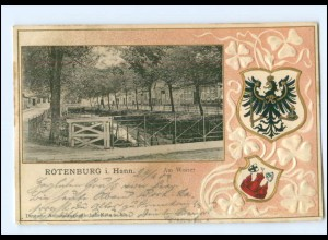 U4930-2720/ Rotenburg Am Wasser Wappen Litho Prägedruck Ak 1903