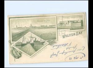 U5031/ Greetings from Walfish Bay Walvis Bay Namibia Litho AK 1899