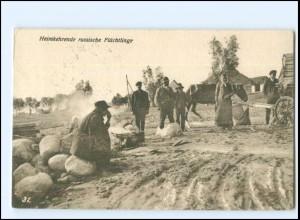 Y11593/ Heimkehrende russische Flüchtlinge 1. Weltkrieg Rußland AK 1916