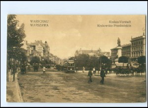 U4989/ Warszawa Warschau Krakau-Vorstadt Straßenbahn Polen AK 1915