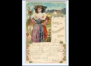 Y11478/ Gruß aus dem Bückeburger Lande Trachten Litho Präge Jugendstil AK 1903