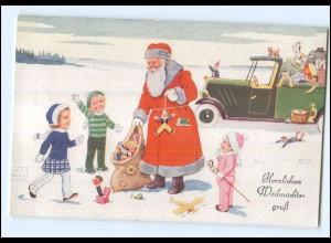 U4920/ John Willy AK Weihnachtsmann Auto Spielzeug ca.1930 Weihnachten