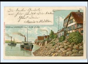 U5195-2058/ Gruß aus Lauenburg Litho Ak 1902