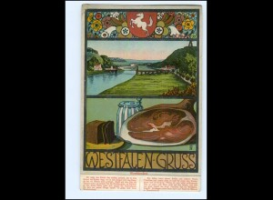 Y13500/ Westfalen-Gruß Westfalen-Lied AK ca.1920