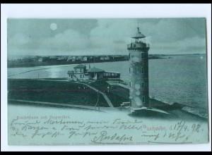 Y11589/ Cuxhaven Leuchtturm Mondschein AK 1898