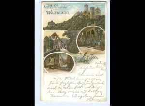 U5247-998/ Gruß von der Wartburg Litho AK 1896 Martin Luther