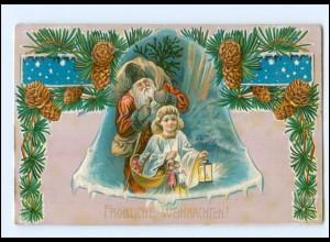 Y11746/ Weihnachtsmann und Engel Litho Prägedruck AK 1918