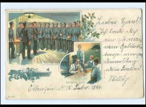 U5227/ Gruß von der Garnison Knöpfeputzen Litho AK 1899 Militär
