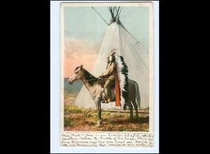 U5381/ Indianer Indians Pretty-Old-Man of the Crows AK USA 1906