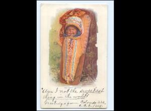 U5384/ Indianer Indians Papoose 1903 Prägedruck AK