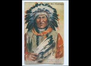 U5399/ Indianer Indians Chief Big Feather 1909 AK