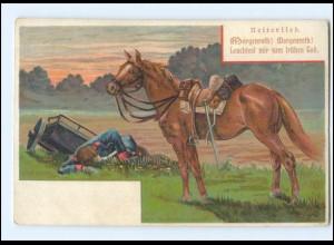 Y11583/ Reiterlied - Gefallener Soldat und Pferd Litho Militär Ak ca.1900