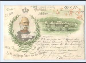 U5264/ König Albert von Sachsen 25jährig. Reg.-Jubiläum Litho AK Pillnitz 1898