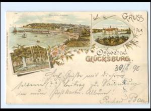 U5763-2392/ Gruß aus Glücksburg 1898 Litho AK