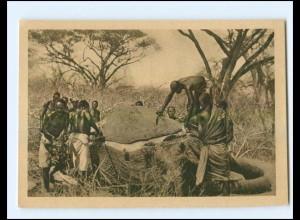 U5475/ WHW 1933/34 erlegter Elefant wird zerteilt AK
