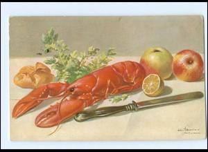 Y11704/ Stilleben Hummer Äpfel AK 1906