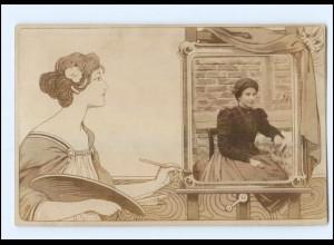 U6040/ Jugendstil Foto AK Fotomontage ca.1905