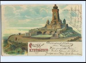 U5557/ Meteor Halt gegen Licht Litho AK Kyffhäuser 1907