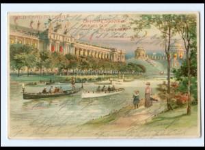 U5585/ St. Louis World`s Fair Halt gegen Licht Litho AK Welt-Ausstellung 1904