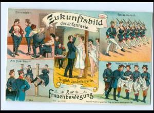 U5549/ Zukunfts-Bild der Infanterie Frauen-Bewegung Litho AK ca.1912