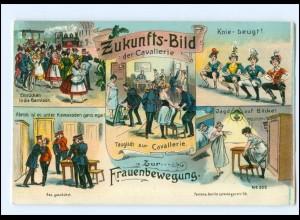 U5550/ Zukunfts-Bild der Cavallerie Frauen-Bewegung Litho AK ca.1912