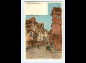 Y11668/ Straßburg Pflanzbadgasse Litho AK A. Erdmann ca.1900