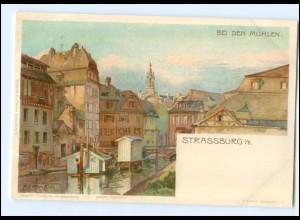 Y11670/ Straßburg Bei den Mühlen Litho AK A. Erdmann ca.1900