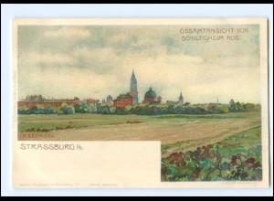 Y11667/ Straßburg Ansicht von Schiltigheim Litho AK A. Erdmann ca.1900