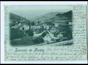 U5629/ Souvenir de Fouday Elsaß Mondschein AK 1899