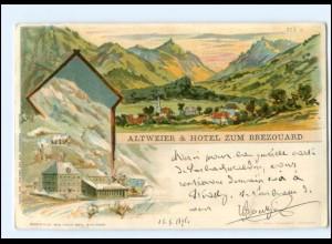 U5620/ Altweier & Hotel zum Brezouard Elsaß Litho AK 1898