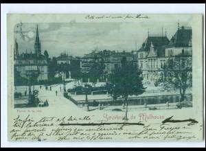 U5613/ Souvenir de Mulhouse Mülhausen AK 1898 Mondschein