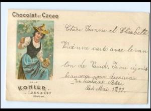 U5618/ Chocolat et Cacao Kohler Lausanne Reklame Litho AK 1898