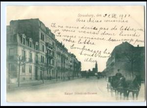 Y11654/ Straßburg Kaiser Friedrich-Straße Kutsche AK 1900