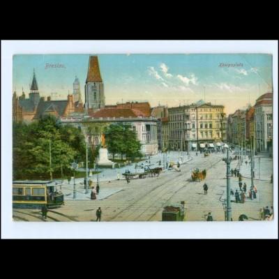 U6142/ Schlesien Breslau Königsplatz Straßenbahn 1913 AK
