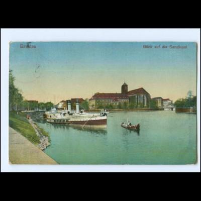 U6143/ Schlesien Breslau Blick auf die Sandinsel 1913 AK