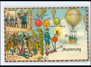 U6014/ Gruß von der Musterung Ballon Luftschiffer-Abteilung Litho AK 1910