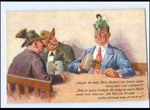 Y11891/ Männer trinken Bier Bayern AK Bierkrug ca.1925