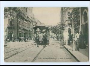U9186/ Pernambuco Rue Victoria Pferdebahn Brasilien AK ca.1905