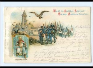 U6587/ Barbarossa Soldaten und Studenten Litho Ak 1902