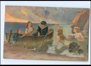 Y14477/ Matrose Elfen Nixen Künstler AK ca.1914 Marine