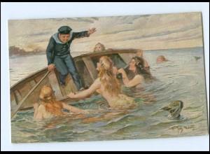 Y14478/ Matrose Elfen Nixen Künstler AK ca.1914 Marine