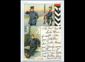 U6581/ Soldat hält Wacher Litho Ak 1905