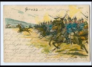 U6580/ Manöver Dragoner zu Pferde Litho AK Verlag: Bürger & Ottillie 1905