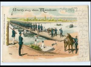 U6579/ Gruß aus dem Manöver Litho AK 1903 Verlag: Bürger & Ottillie
