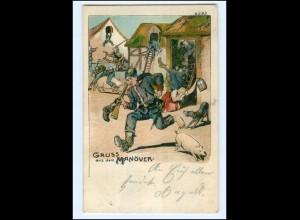 U6578/ Gruß aus dem Manöver Litho Humor AK 1907 Militär