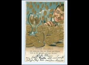 U6497/ Neujahr Geld Münzen Litho Prägedruck AK 1902